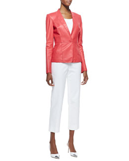 Lafayette 148 New York Lambskin Blazer, Scoop-Neck Tank & Cropped Bleecker Pants