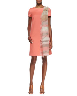 Lafayette 148 New York Drea Short Sleeve Shift Dress & Printed Gauzy Scarf