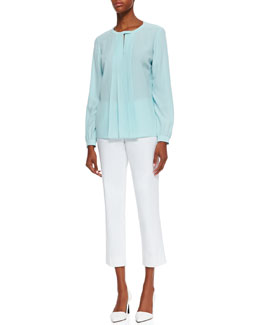 Lafayette 148 New York Suri Pleated Silk Top & Cropped Bleecker Pants