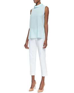 Lafayette 148 New York Careena Sleeveless Silk Top & Cropped Bleecker Pants