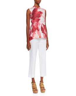 Lafayette 148 New York Sari Sleeveless High-Low Blouse & Cropped Bleecker Pants