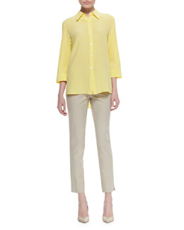Lafayette 148 New York Theo Sandwashed Silk Blouse & Stanton Straight-Leg Ankle Pants