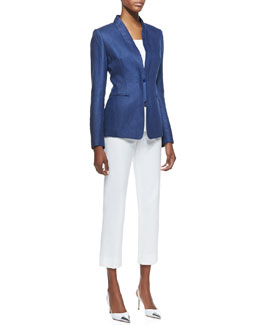 Lafayette 148 New York Gissela Linen Jacket, Long Scoop-Neck Tank & Cropped Bleecker Pants