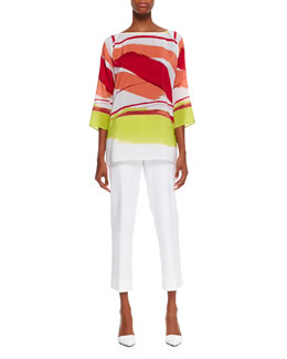 Lafayette 148 New York Laney Printed 3/4-Sleeve Top & Cropped Bleecker Pants