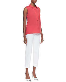 Lafayette 148 New York Daisy Sleeveless Poplin Blouse & Cropped Bleecker Pants