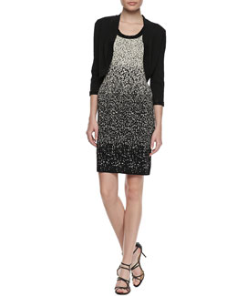 Carmen by Carmen Marc Valvo Beaded 3/4-Sleeve Bolero & Ombre Beaded Scoop-Neck Dress