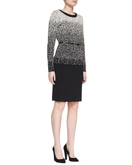 Carmen by Carmen Marc Valvo Metallic Beaded-Neck Ombre Top & Faux-Leather Banded Pencil Skirt