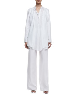 Minnie Rose Long-Sleeve Open Duster, Long Silk Shirttail Blouse &  Silk Palazzo Pants