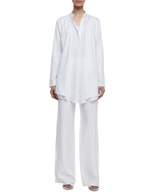 Minnie Rose Long Sleeve Open Duster, Long Silk Shirttail Blouse &  Silk Palazzo Pants