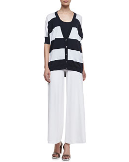 Minnie Rose Rugby Striped Pow Cardigan, Banded-Hem Cotton Tank & Silk Palazzo Pants