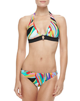 Trina Turk Prisma Ring-Front Halter Bikini Top & Prisma Side-Ring Swim Bottom