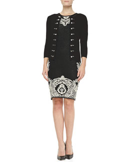 Carmen by Carmen Marc Valvo Military Cardigan & Palace Jacquard Sheath Dress