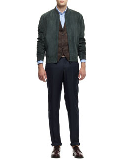 Brunello Cucinelli Suede Bomber Jacket, Linen-Blend Plaid Waistcoat, Washed Solid Long-Sleeve Shirt & Flat-Front Wool Trousers