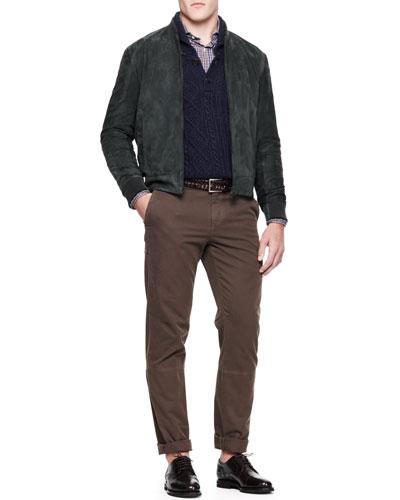 Brunello Cucinelli Buttoned Shawl-Collar Cardigan, Buttoned Check Shirt & Twill Aviator Trousers