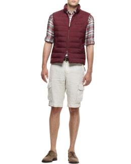 Brunello Cucinelli Quilted Nylon Vest, Plaid Linen Shirt & Linen Cargo Bermuda Shorts