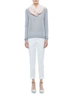 Vince Raglan Mixed-Media Sweater, Viscose-Cashmere Scarf & Twill Boyfriend Trousers