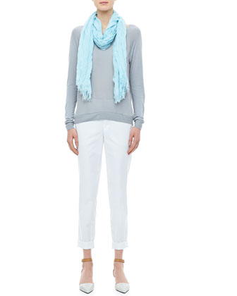 Raglan Mixed-Media Sweater, Viscose-Cashmere Scarf & Twill Boyfriend Trousers