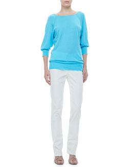 Rena Lange Raglan-Sleeve Tunic & Straight-Leg Jeans
