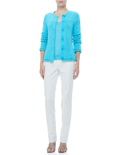 Rena Lange Hand-Knit Cardigan, Silk-Blend Tee & Straight-Leg Jeans