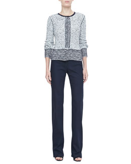 Rena Lange Tweed Knit Cardigan & Boot-Cut Denim Jeans