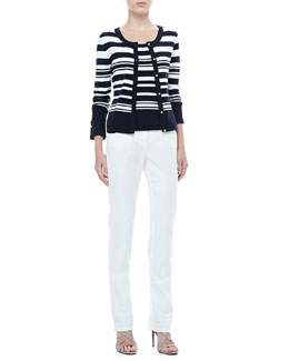 Rena Lange Striped Cardigan, Tank & Straight-Leg Jeans