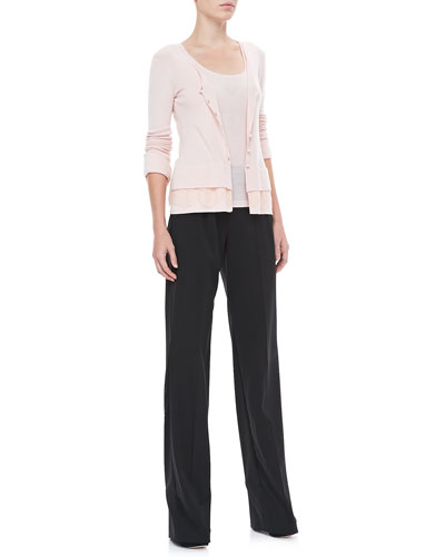 Rena Lange Lace-Trim Cardigan, Soft Knit Tank & Side-Zip Trousers