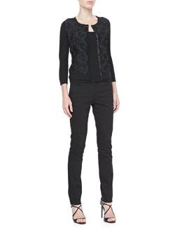 Rena Lange Floral Lace-Front Cardigan, Knit Tank & Lace-Trim Slim Jeans