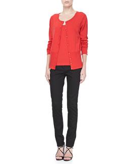 Rena Lange Cutout-Sleeve Cardigan, Knit Tank & Lace-Trim Skinny Jeans