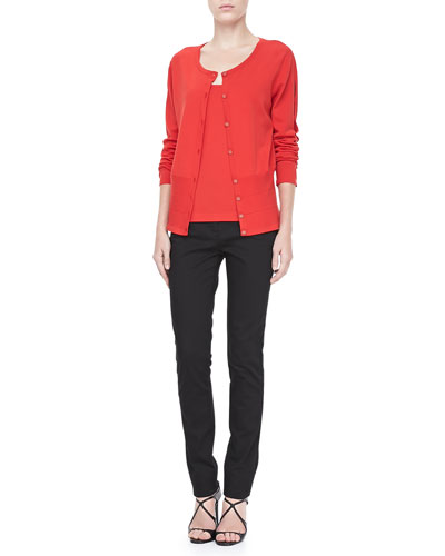 Rena Lange Cutout-Sleeve Cardigan, Knit Tank & Lace-Trim Skinny Jeans