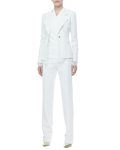 Rena Lange One-Button Jacket, Drape-Front Blouse & Twill Classic Pants