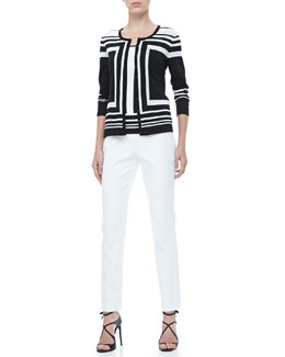 Rena Lange Colorblock Striped Cardigan, Tank & Slim Side-Zip Pants