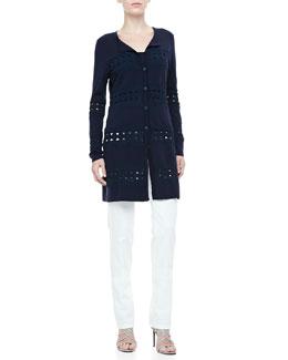Rena Lange Crochet-Detail Cardigan, Knit Tank & Straight-Leg Jeans
