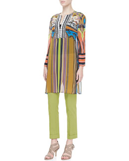 Etro Paisley & Striped Caftan & Cropped Cigarette Pants
