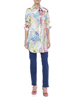 Etro Oversized Button-Front Paisley Blouse & Embroidered Boyfriend Jeans