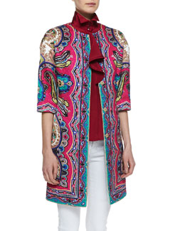 Etro Paisley-Print Snap Coat & Ruffled High-Neck Blouse