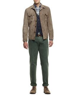 Brunello Cucinelli Suede Shirt Jacket, Five-Button Waistcoat, Plaid Button-Down Shirt & Basic-Fit 5-Pocket Denim Jeans