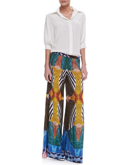 Alexis Nika Spread-Collar Silk Blouse & Austria Wide-Leg Tribal-Print Pants