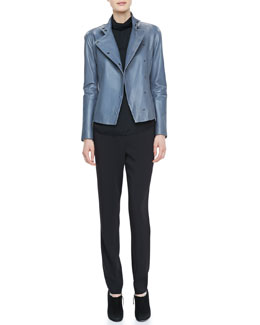 Armani Collezioni Snap Leather Jacket, Sleeveless Mock-Neck Keyhole Blouse & Slim Cady Pants