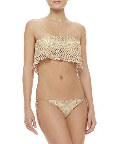 Beach Riot Marque Bandeau Flutter Swim Top & Hyper Shimmery Tie-Side Bottom