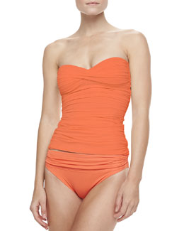Carmen Marc Valvo Mediterranean Solids Bandeau Tankini Top & Ruched Bottom