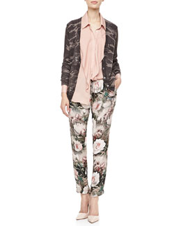 Haute Hippie Abstract Camo-Printed Glittery Cardigan, Ruffled Front Silk Blouse & Dream Floral Print Drawstring Pant