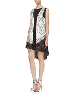 Haute Hippie Tuck Lace-Back Hi-Low Dress & Silk Charmeuse Beaded Vest