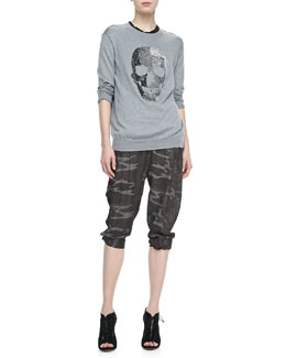 Haute Hippie Studded-Skull Knit Sweatshirt, Make Love Not War Tee & Shimmery Camo-Print Cargo Pants