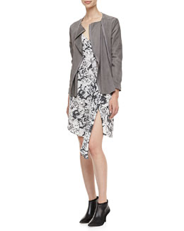Haute Hippie Draped Suede Zip Jacket & Rose-Print Asymmetric Dress