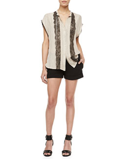 Haute Hippie Dotted Lace-Panel Blouse & Tailored Stretch-Crepe Shorts