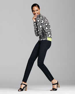 Stella McCartney Heart-Print Knit Neon-Band Pullover & Slim Tropical Wool Pants