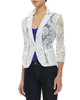 Nanette Lepore New Wave Notched-Collar Lace Jacket & Billboard Crepe Bustier Top