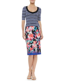 Nanette Lepore Harbor Striped Top & Surfin Floral-Print Skirt