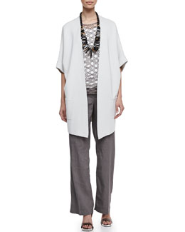 Eileen Fisher Silk-Cotton Interlock Jacket, Silk Jersey Tank, Linen Corded Sheen Shell & Straight-Leg Trousers