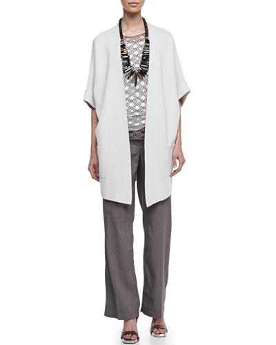 Eileen Fisher Silk-Cotton Interlock Jacket, Silk Jersey Tank, Linen Corded Sheen Shell & Straight-Leg Trousers